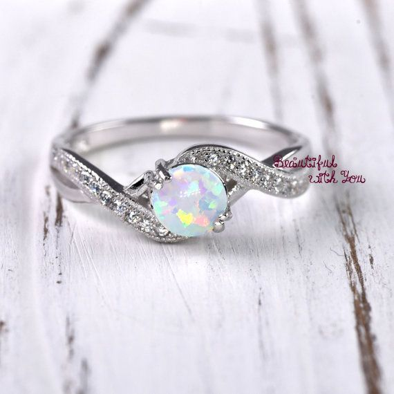 Womens Wedding Band, Engagement Ring, Unique Promise Ring for Her, Proposal Ring, White Opal Ring, Silver Lab Created Opal Ring