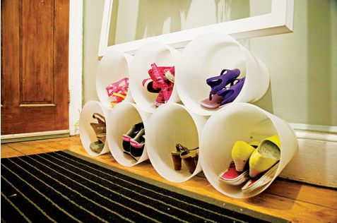 OMG super cute idea for kids shoes!! I'm guessing those are just garbage bins? Dollar store has those!
