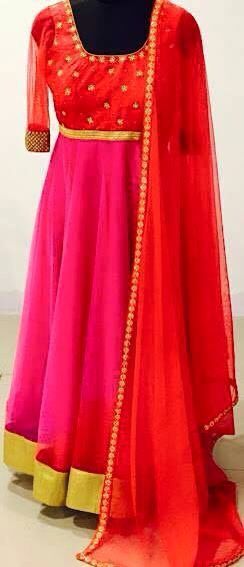 Red and pink anarkalis - anarkali suit - to order or purchase query whatsapp +917696747289 visit us at https://www.facebook.com/punjabisboutique @nivetas @nivetas @nivetas