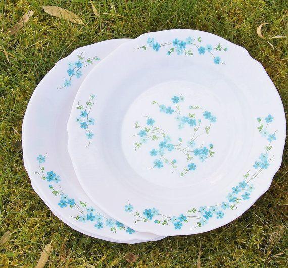Assiette plate ou creuse Arcopal Myosotis Veronica (lot de 4 ou 3 assiettes) / arts de la table vintage 70s / Holy10