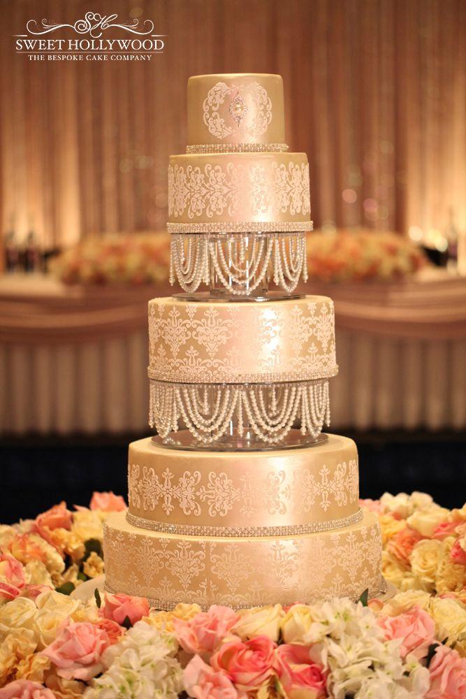 Damask & Pearl detailing on our large bespoke 5 tier wedding cake.