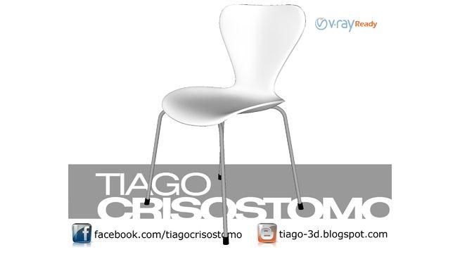 Visualização grande do modelo 3D de Cadeira Jacobsen Branca
