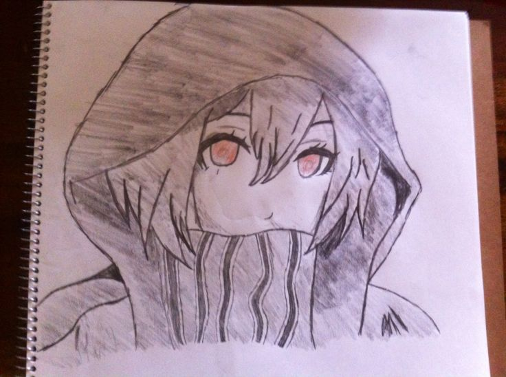 Drawing i did girl with hoodie drawings awesome anime