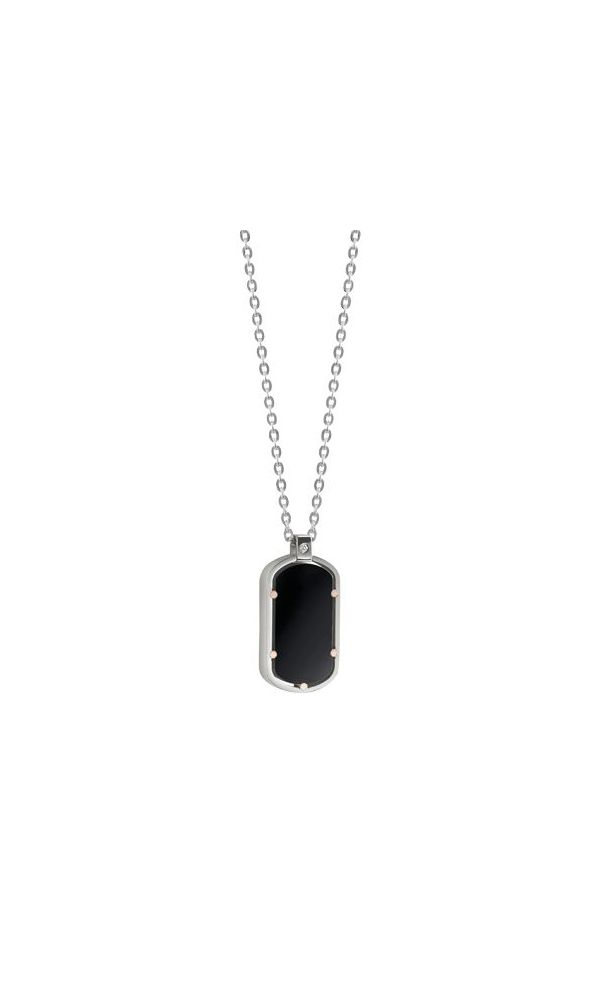 D.Side gold, steel and onyx necklace