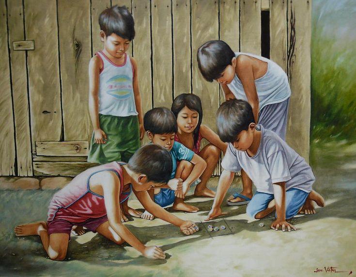 Portrait Painting Marble Game By Jose Vistan Childhood Games Childhood Memories Art Portrait Painting