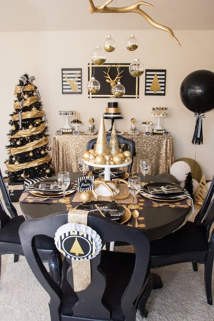 Gorgeous Black And Gold And B W Stripe Christmas Table Black Gold Christmas Christmas Decor Trends Gold Christmas Decorations
