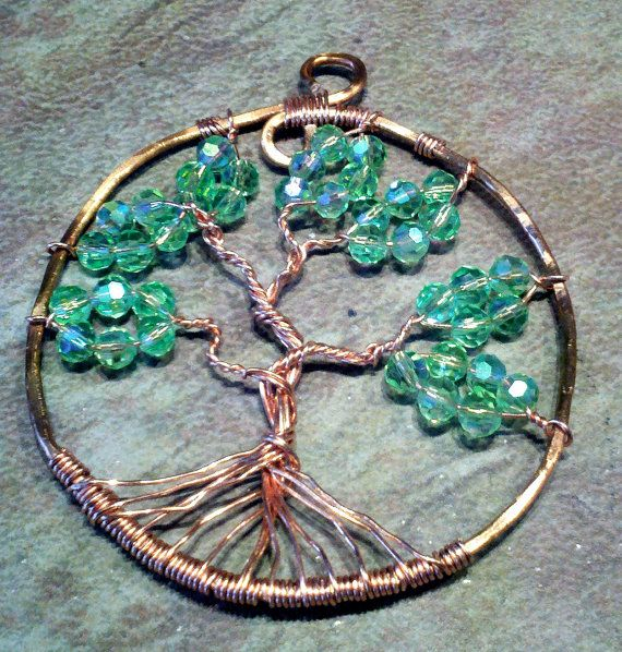 Copper and Green Glass Bead Tree of Life  by DosseyDesigns on Etsy, $25.00