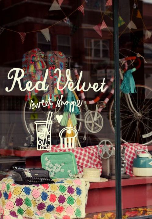 Red VelvetVelvet Sweets, Stores Front, Shops Windows, Red Velvet, Stores Windows, Windows Display, Storefront, Sweets Shoppe, Shops Front