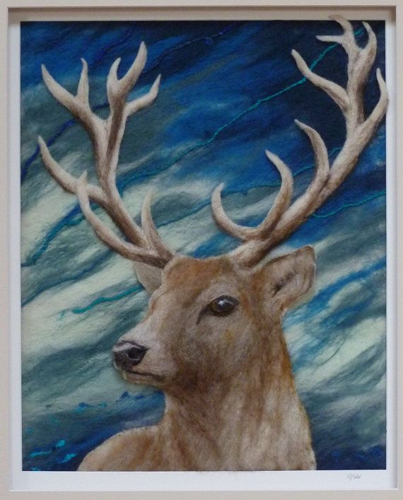Hey, I found this really awesome Etsy listing at https://www.etsy.com/listing/211841934/stag-deer-felt-fiber-art-picture-needle