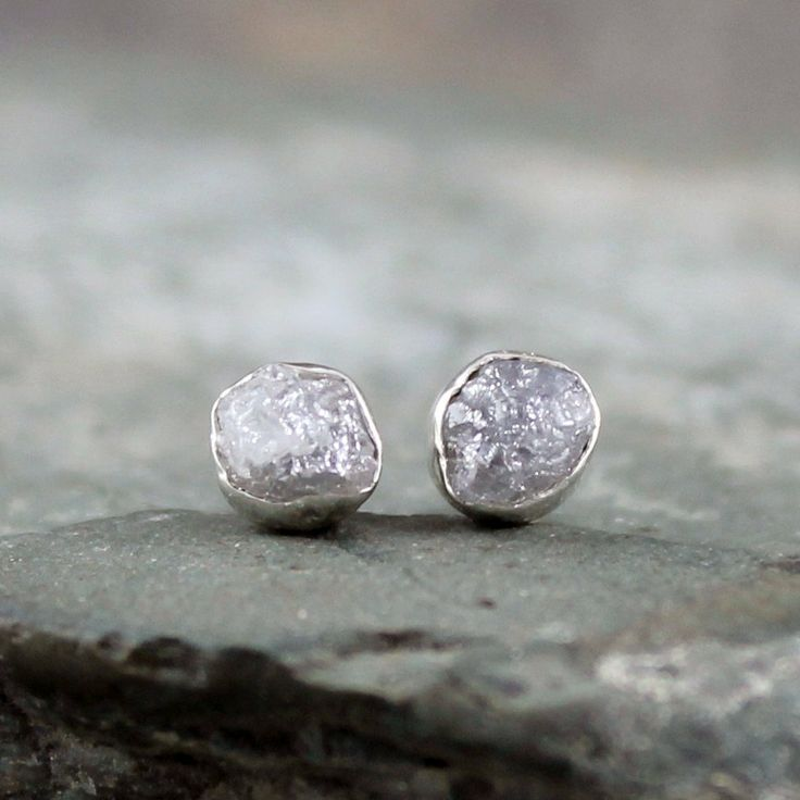 Raw Diamond Earrings  Uncut Rough Diamond  Sterling by ASecondTime