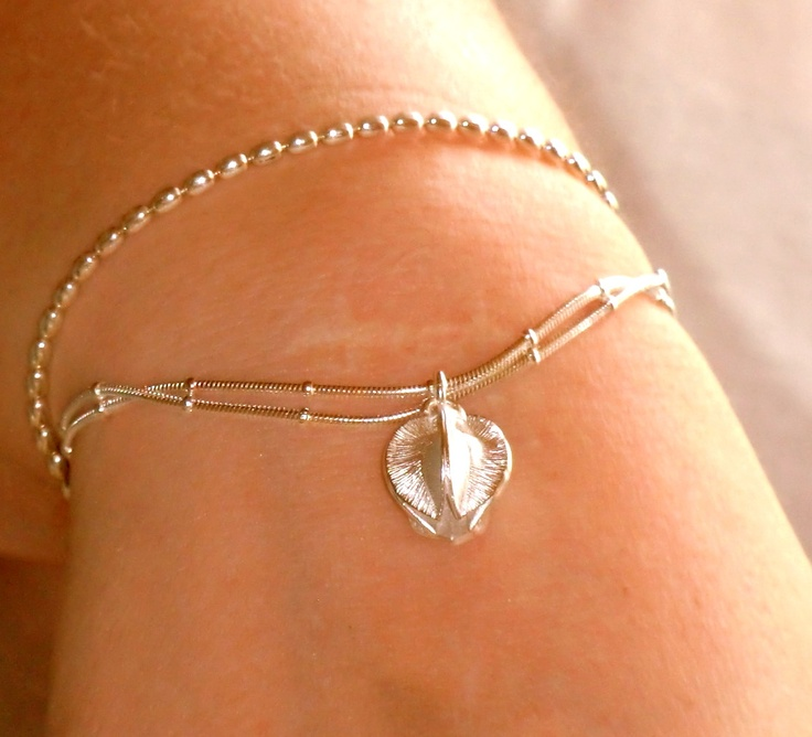Snow Flower and Twinflower bracelets in silver
