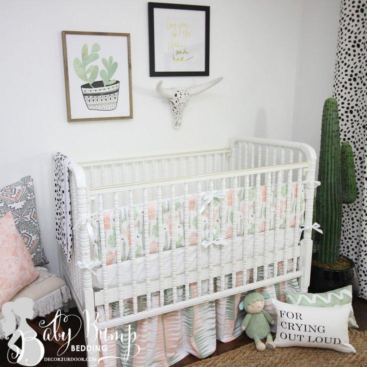 Peach & Green Cactus Gender Neutral Baby Crib Bedding Set