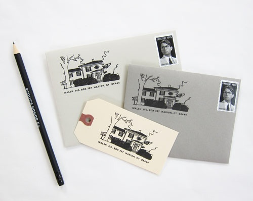 Rubber stamp created from original illustration of your home by Scout's Honor Co.