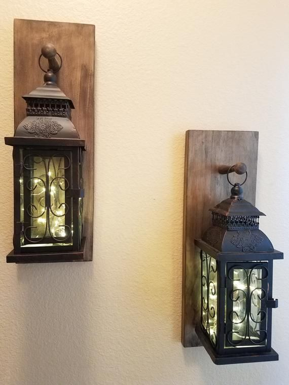 Lantern Wall Sconce Set Wall Sconces Fairy Light Sconce Etsy In 2020 Wall Lantern Decor Rustic Walls Wall Sconces