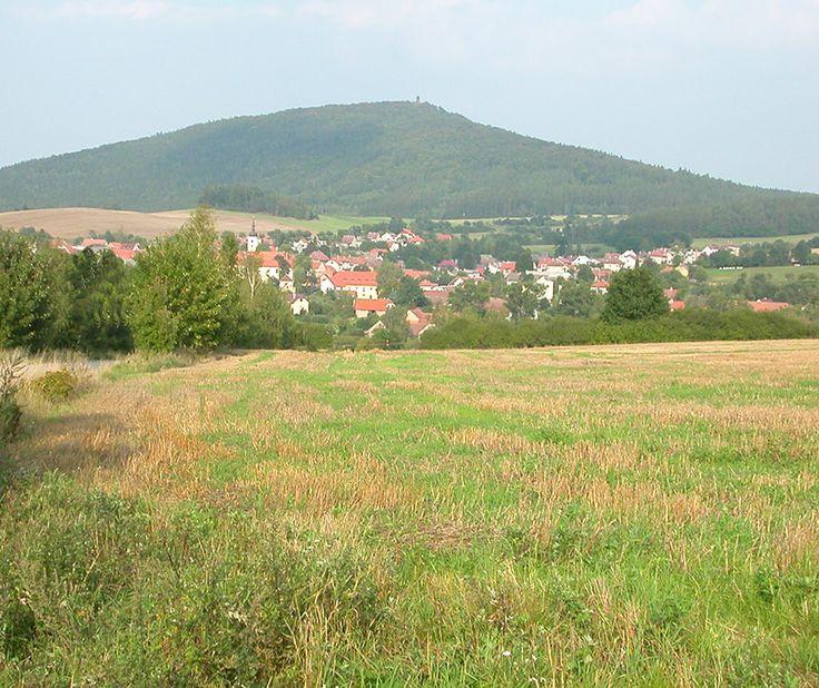 Louňovice pod Blaníkem and Velký Blaník from the west (Central Bohemia), Czechia
