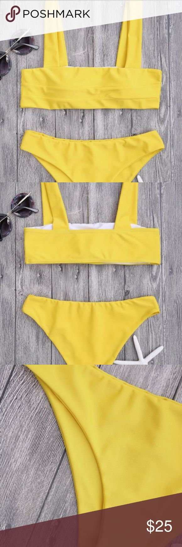 Yellow Bandeau Bikini Sleek and clean bathing suit featuring square cut collarline pullover style bikini top and cheeky swim bottoms. (New, never worn!) (Brand not listed, listed otherwise for exposure) Urban Outfitters Swim Bikinis
