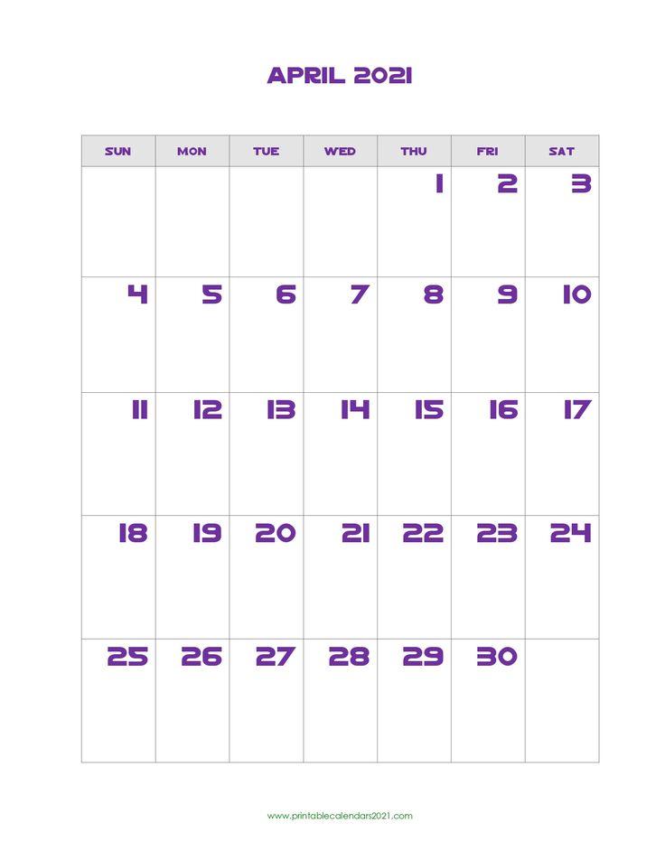 Printable Calendar April 2021, Printable 2021 Calendar ...
