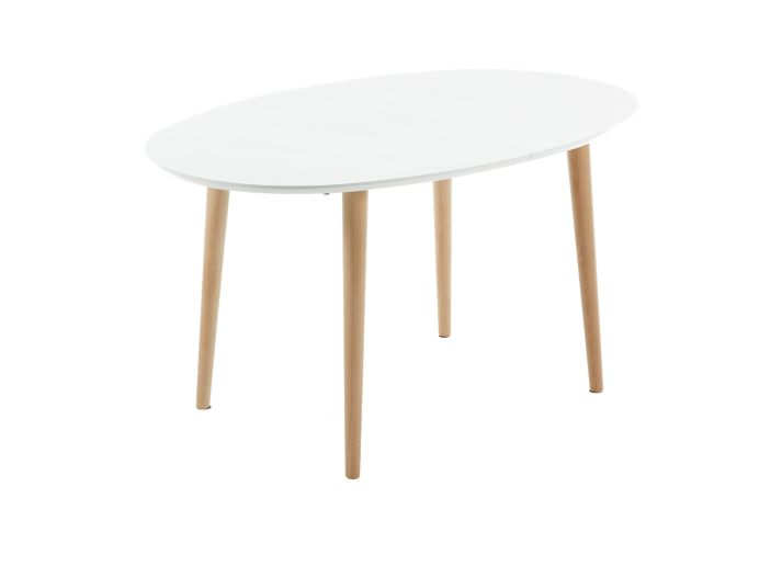 Table extensible ovale blanc hetre table table for Table extensible fly