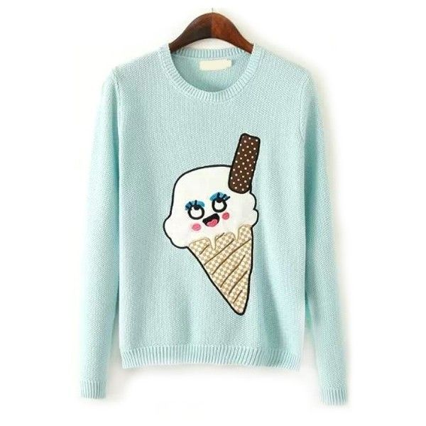 Delightful Ice Cream Knit Sweater ($36) ❤ liked on Polyvore featuring tops, sweaters, oasap, long sleeve tops, green knit sweater, knit top, cream top and round neck sweater