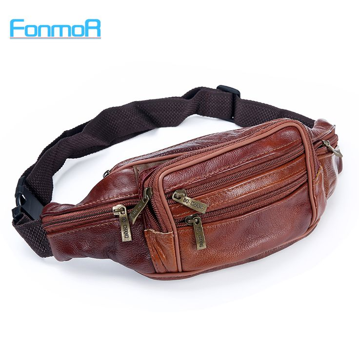 FONMOR Men Retro  Genuine Leather Waist Packs Cowhide Travel Fanny Pack with Phone Coin Purse Shoulder Bags Messenger Bag