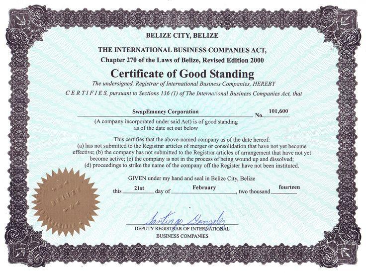 certificate of good standing certificate of incumbency cclogic ltd