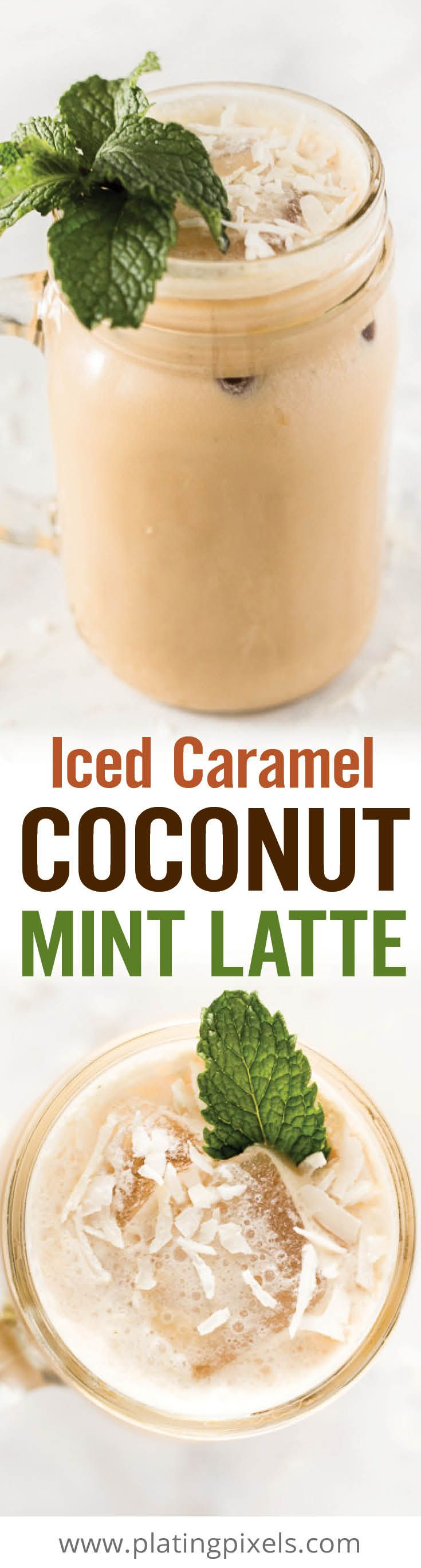 This Iced Caramel Coconut Mint Latte recipe is an easy homemade specialty coffee drink. Made with cold brew coffee, muddled mint, coconut extract and frothed top. - www.platingpixels.com