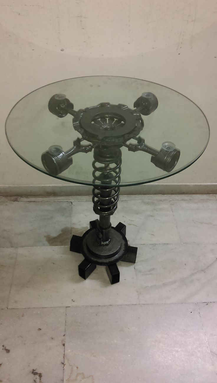 Coffee table made with old car parts