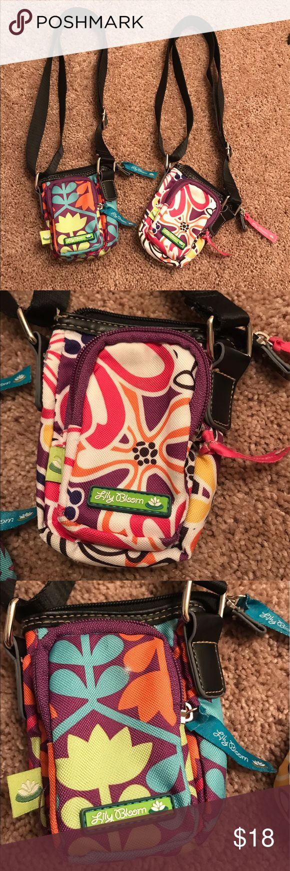 Lily bloom small cross body pouch purse Lily bloom cross body purse pouches. Three pockets, 2 with zippers. EXCELLENT LIKE NEW CONDITION. Could hold cellphone, money, cards, lipsticks. Anything really! The listing is for both purses! What a deal 😀 lily bloom Bags Crossbody Bags