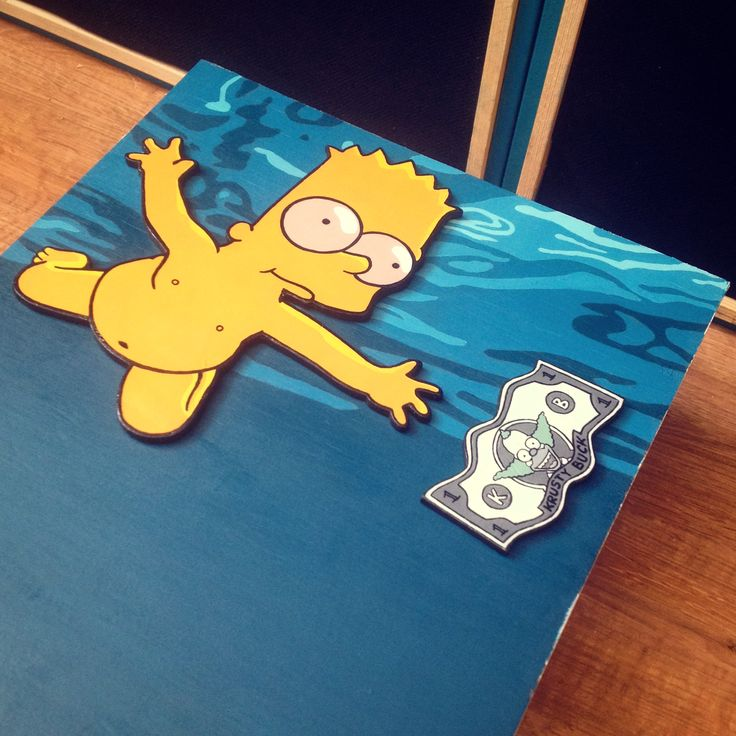 Bart Simpson / Nevermind Cover. Acrylics and markers on wood.
