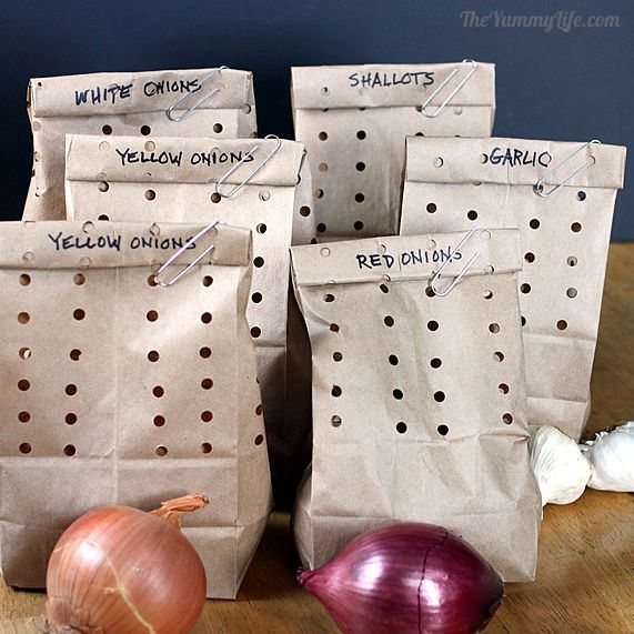 Store onions, garlic, shallots in punched paper bags which allow just enough air circulation to preserve these veggies for an extended period of time.