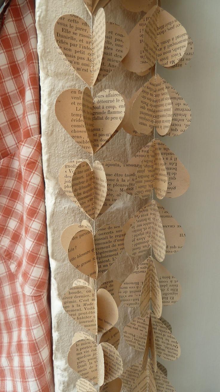 SALE Paper Garland, FRENCH HEARTS, Heart Garland, Wedding garland, Birthday Party Garland, with Merino wool felt ball. $10.00, via Etsy.