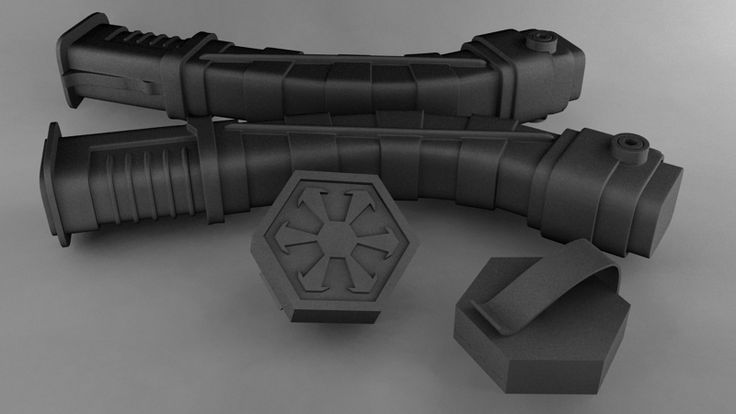 A set of Asajj Ventress style sabers I modeled for 3D printing with magnetic belt clips.
