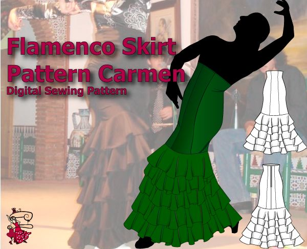 "Look your best in this elegant, flattering high waist flamenco skirt with 5 medium sized circular ruffles. It will be the most versatile piece in your flamenco dancer wardrobe. Wear it with a top or blouse tucked in or over the skirt, combine it with a short vest or short jacket and create many different looks.    Women's sizes  6 - 16 (hip measurements 35""/89cm to 45""/114cm)    Includes the detailed tutorial in pdf format."