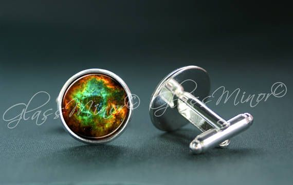 Green Galaxy Nebula Cufflinks, Groomsmen Usher Cufflinks, Wedding Cufflinks, Gift for Him, Shirt Cufflinks, Geekery Outerspace Lovers Gift