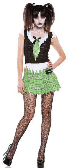 Sexy Brain Dead Zombie School Girl Costume