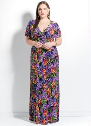 Vestido Longo (Floral) Decote V Plus Size