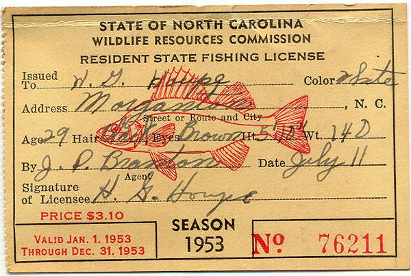 Nc Wildlife Fishing License Of Vintage Fishing License 1953 Inspiration Pinterest