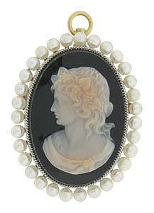 Antique Victorian Carved Sardonyx Stone Cameo Pendant/Brooch Of A Lovely Woman In Profile Wearing A Wreath Of Flowers And Leaves, Dressed In A Diaphonous Gown, Framed By A Ring Of Cultured Pearls   c.1800