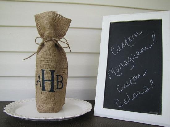 wine bottle covers burlap | burlap wine bottle cover with monogram weddings burlap wine bottle ...