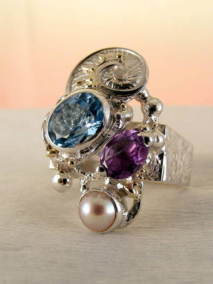 gregory pyra piro #konst #smycken #ring fyrkant #sterlingsilver och #guld med #ädelstenar