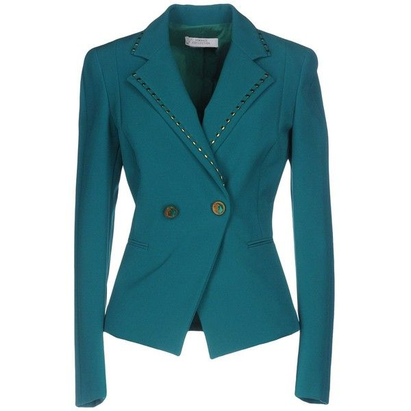 Versace Collection Blazer ($288) ❤ liked on Polyvore featuring outerwear, jackets, blazers, turquoise, blazer jacket, versace, versace jacket, double breasted blazer and stretch blazer