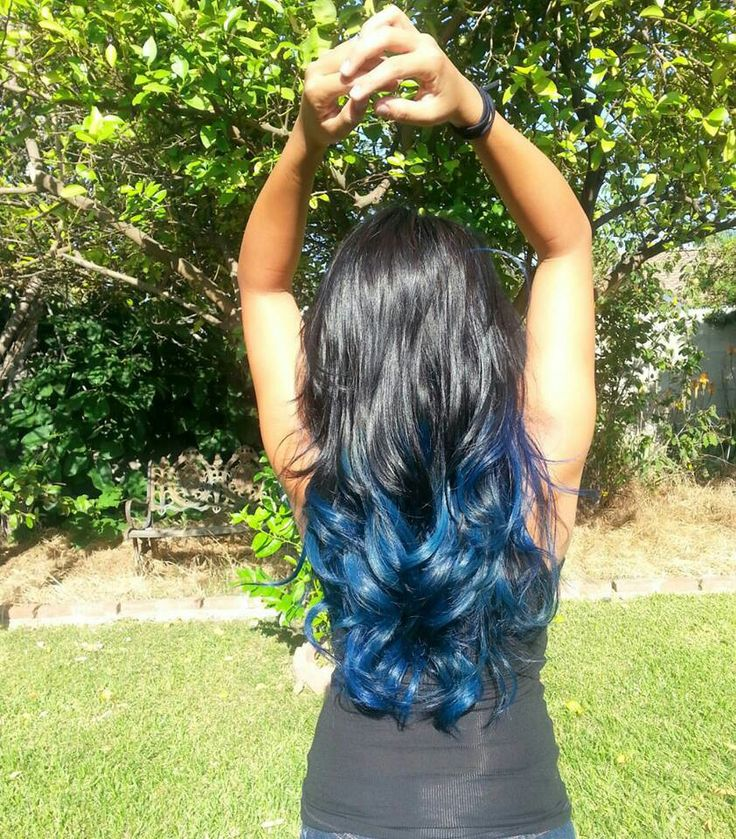 Black hair with blue ombre                                                                                                                                                      More