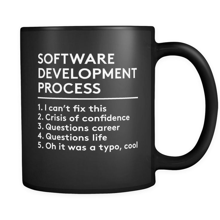 "Programmers mug Content + Care - Ceramic - Gently Hand Wash - Black Mug, White Imprint - Full wrap, ""Software Development..."" Graphic on both sides. - C-Handle Size - 11 oz Weight: 1.1 lbs Shipping US"