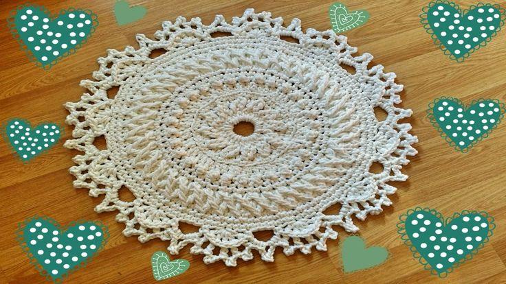 Ковер в стиле Шебби шик. МК 14-15 ряды. Crochet rug Tutorial