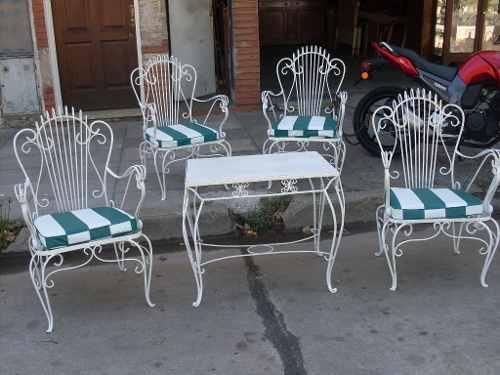Juego de jardin de hierro forjado 5 piezas con for Almohadones para sillones