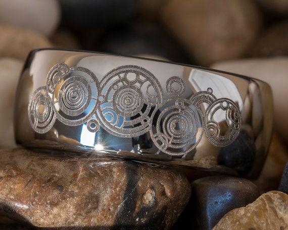 BEAUTIFUL PIECE!! Tungsten Ring 10mm Dome Doctor Who Time Lord by FANaticCreations, $49.00 WANT