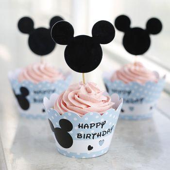 24 шт. событие ну вечеринку праздничные атрибуты свадебные украшения кекс обертки микки маус животных малыш день рождения ну вечеринку чашки торт ботворезы выбирает