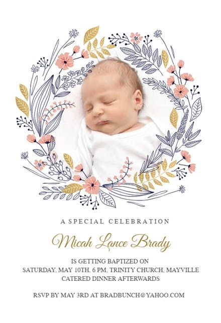Wreath Baptism Christening Invitation Template Christening