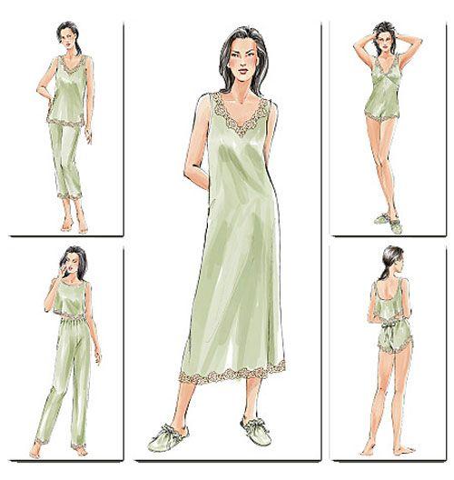 Выкройка Vogue — Ночная рубашка, пижама, тапочки - V7837 | Одежда для дома