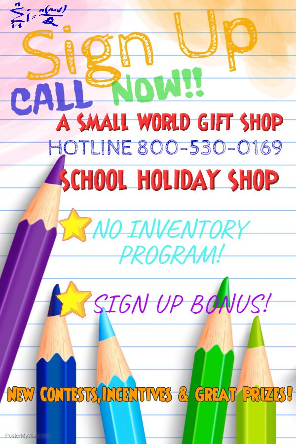 If your time is limited like many of us today, ask about our No Inventory Program when you call. 1-800-530-0169 Our unique & affordable merchandise is pre-coded when you get it making it super easy to run your School Fundraiser or Holiday Shop , we send everything your need to run your School's Shop. Another great option we offer is our FREE CASH REGISTER APP , all you need is your smart phone.
